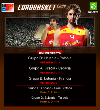 live eurobasket broadcast 2009